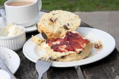Cream tea at Corfe Castle, Dorset