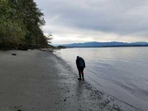 Sea glass hunting at Bush Point, Washington