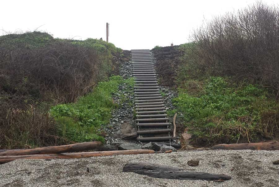 Stairs which lead to the middle site at Glass Beach, Fort Bragg.