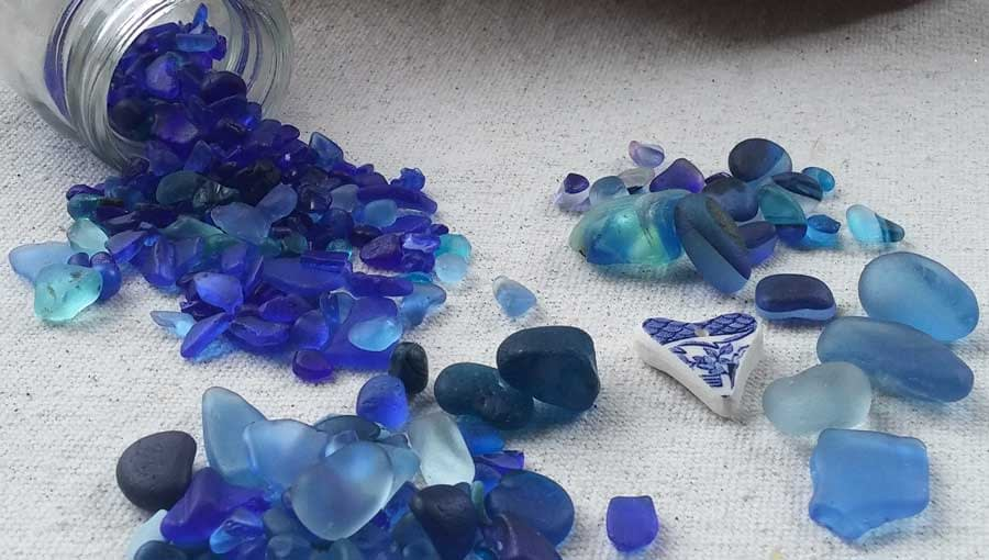Blue sea glass from Seaham