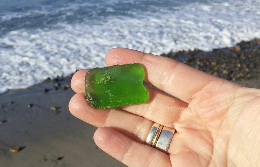Green sea glass found at Capistrano Beach, California