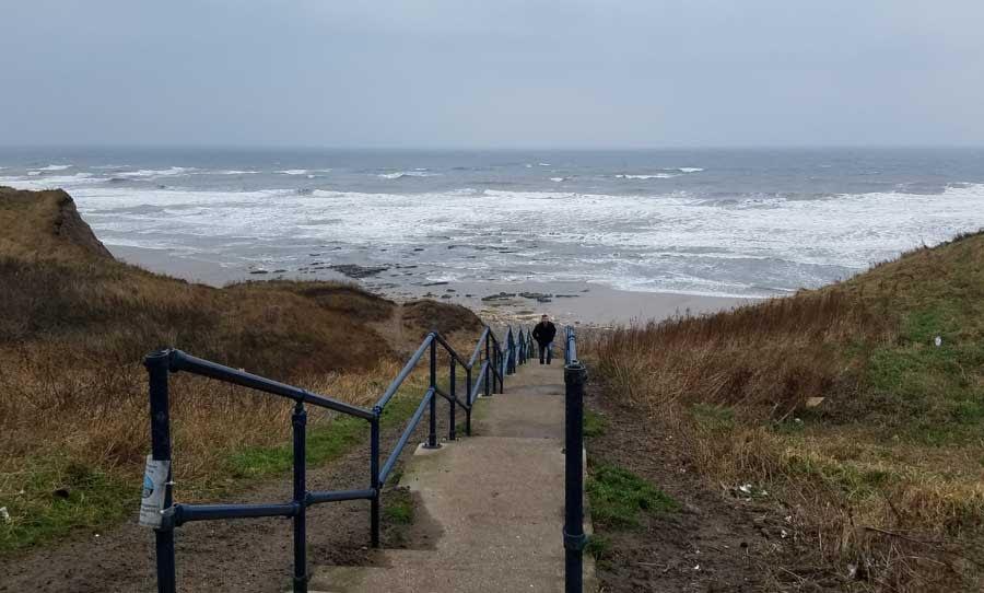 Steps down to Seaham Hall Beach