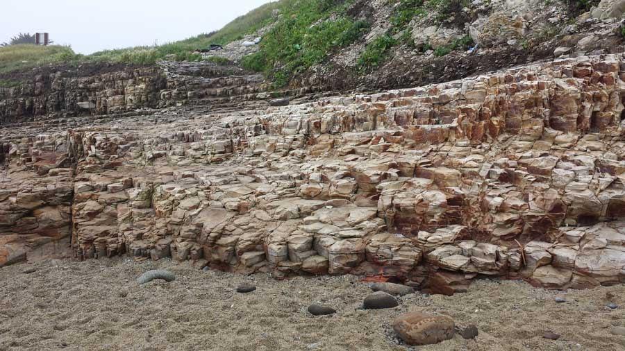 Stone steps to Davenport Beach