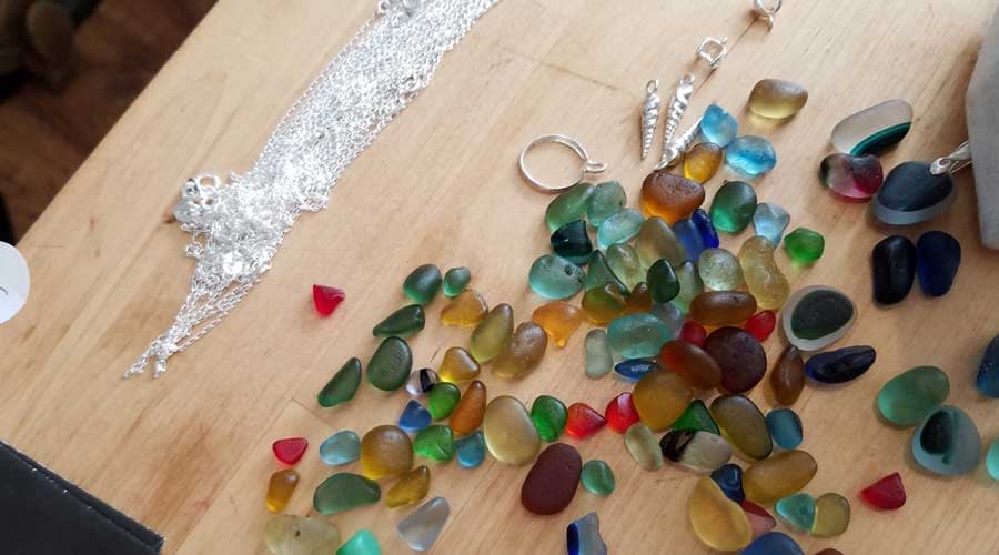 Making sea glass jewelry at Seaham Waves