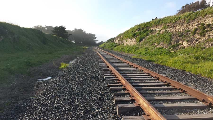 Abandoned railroad tracks at Davenport Beach