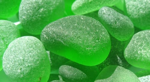 Pieces of lime green sea glass