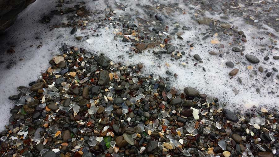 Sea glass washes up with every wave!