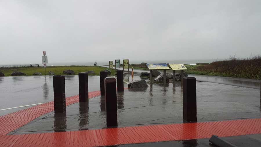 Glass Beach parking lot in the rain