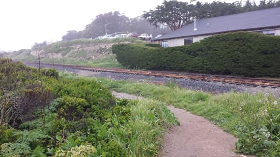 View of the path from the parking lot down to Davenport Beach.