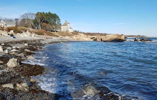 View of East Point Beach Cove, Biddeford, Maine.