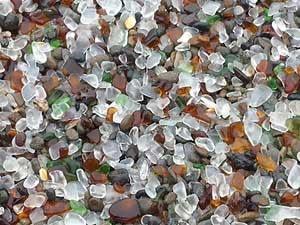 Sea glass laying on Glass Beach, Fort Bragg