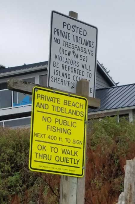 Signs at Bush Point Beach, Whidbey Island