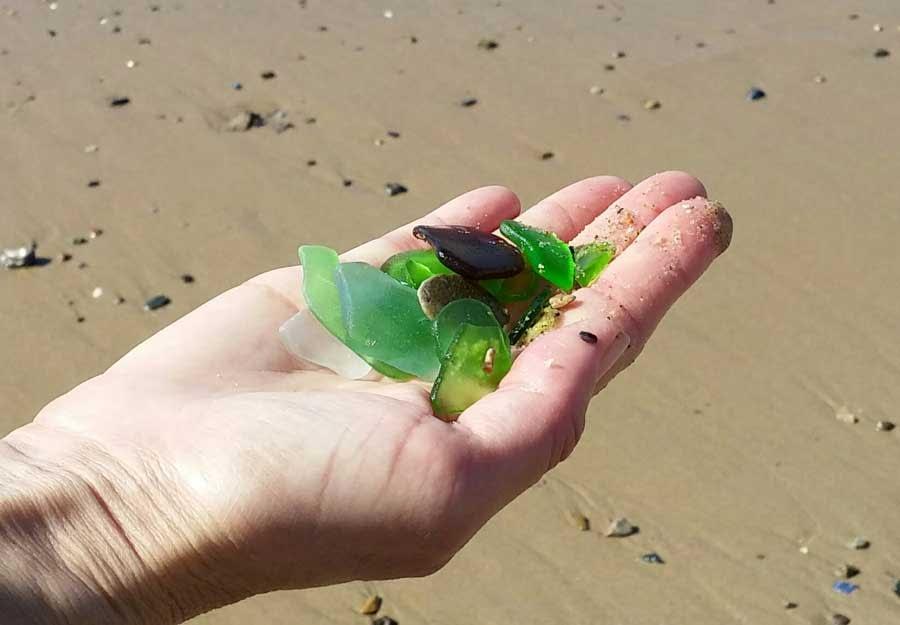 Sea glass found at Crystal Cove State Park, Laguna Beach