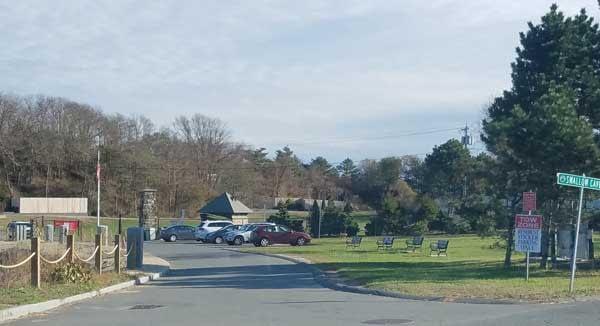 Image of parking lot near 40 Steps Beach, Nahant, Massachusetts.