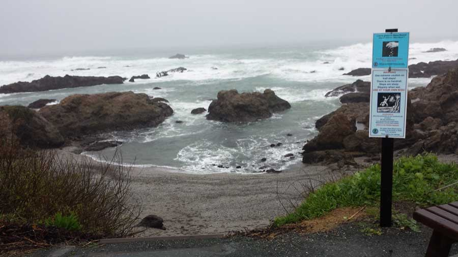 View of the ocean at Glass Beach, Fort Bragg from the top of the stairs.