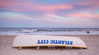 Atlantic City New Jersey Beach Sunset Lifeguard Boat