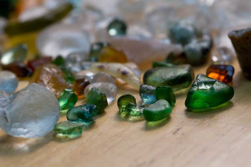 Sea glass rubbed with baby oil for a shiny finish