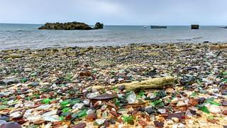 Glass Beach, Fort Bragg, California covered in sea glass.