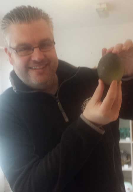 2lb green sea glass egg found at Seaham