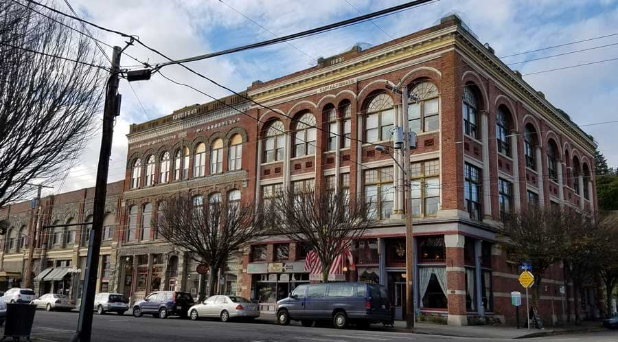 Grand buildings in downtown Port Townsend, Washington