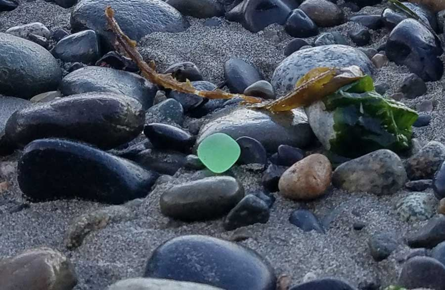Uranium sea glass found at Glass Beach, Port Townsend