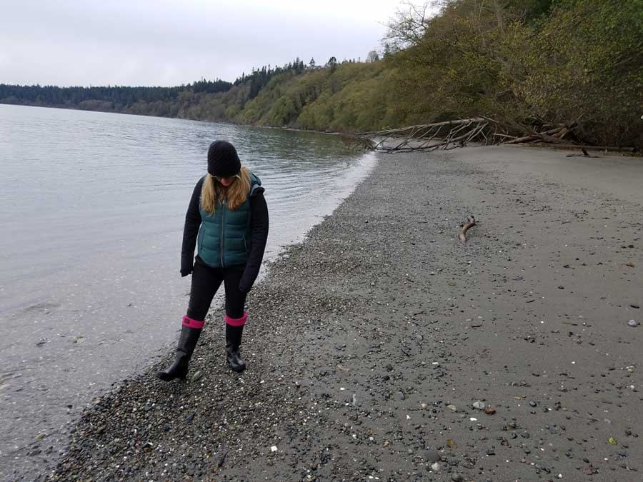 Sea glass hunting at Bush Point Beach, Whidbey Island