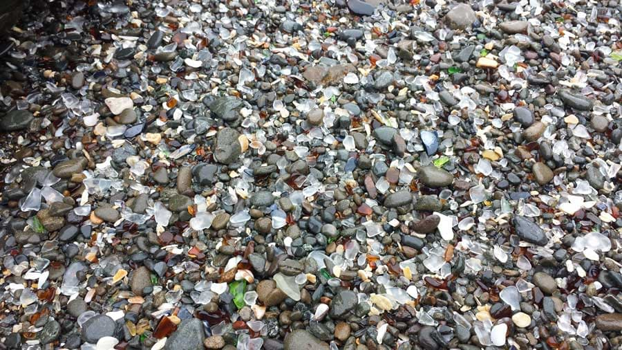 Most of the sea glass is clear, green and brown