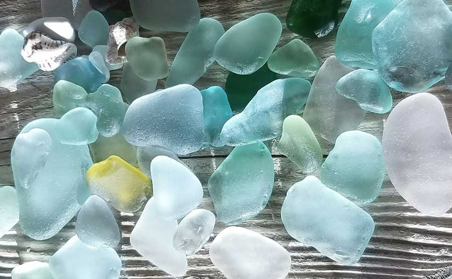 sea glass found at Minster-on-Sea, Swale