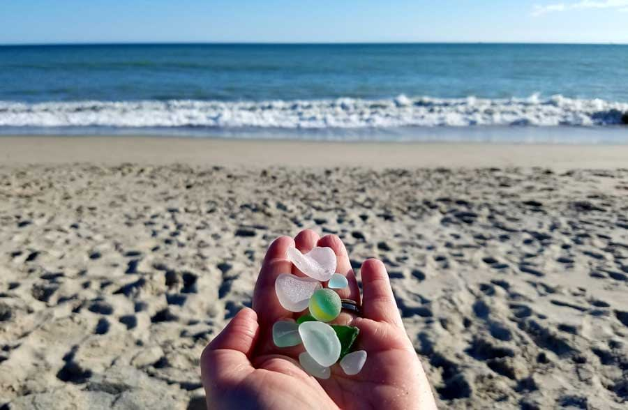 Sea glass collected at Capistrano Beach Park