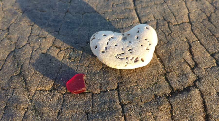 Red sea glass found at Southbourne Beach, Bournemouth