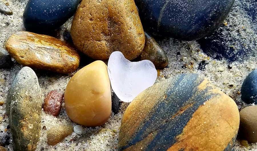 Sea glass heart found at Capistrano Beach Park