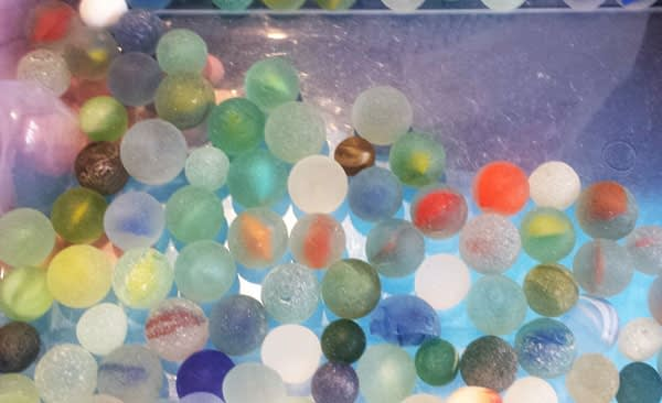Seaham Hall Beach sea glass marble collection.