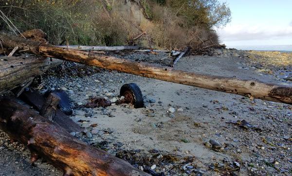 Rusted car axle on the beach at McCurdy Point, Glass Beach, Port Townsend.