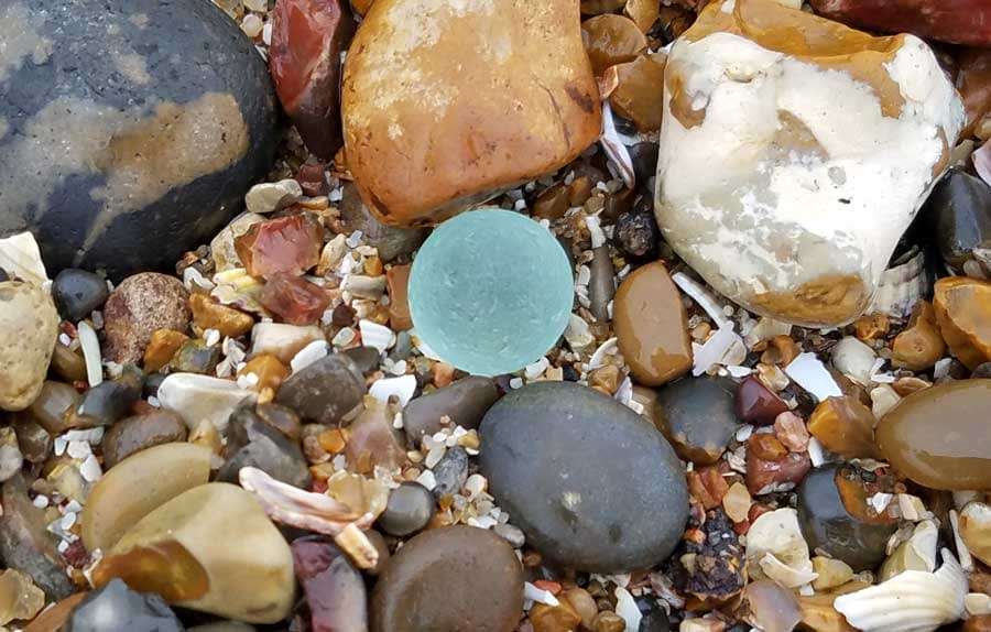 Sea glass marble found at Minster-on-Sea, Swale