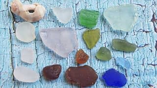 Blue sea glass, lavender sea glass, aqua sea glass all found at Lands End Beach on Bailey Island.