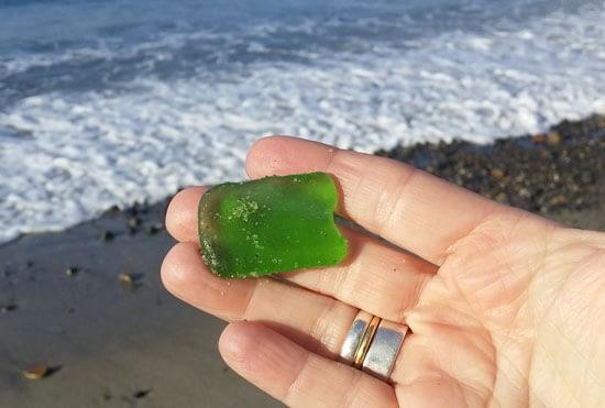 Green sea glass from Capistrano Beach, California.