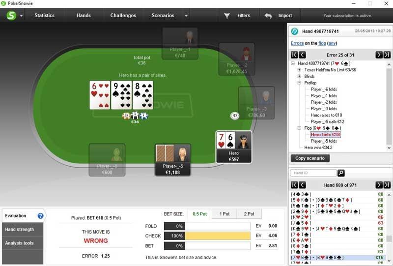 PokerSnowie Review Hands