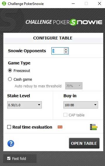 PokerSnowie Review Challenge Configure Table