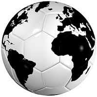 A globe of the world, printed on a football.