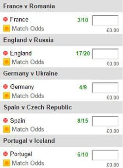 Euro 2016 football accumulator betting slip
