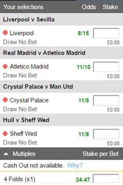 Draw no bet (DNB) football accumulator betting slip.