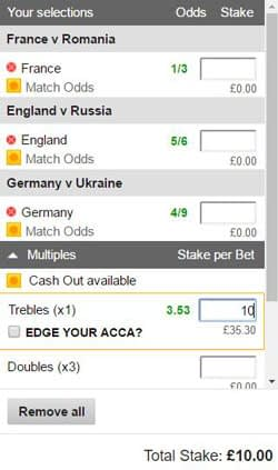 A betting slip which shows a treble bet.