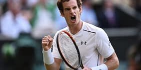 Andy Murray celebrates after winning the 2013 Wimbledon Championships.
