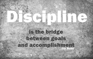 Discipline is the bridge between goals and accomplishment is a quote by Jim Rohn