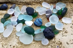 Multie colored sea glass from Seaham Beach, England