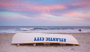 Atlantic City New Jersey Beach Sunset Lifeguard Boat