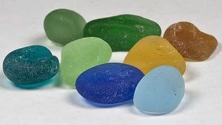 Blue, yellow, green, brown and aqua sea glass colors.