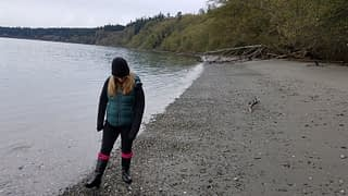 Searching for sea glass on Bush Point Beach, Whidbey Island, Washington