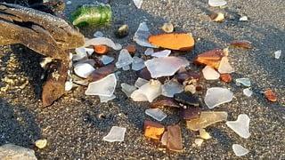 sea glass and treasures on Woodland Beach Delaware