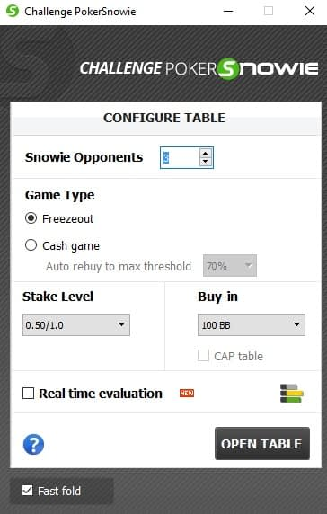 PokerSnowie Review Challenge Configure Table